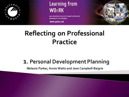 Melanie Parker, Annie Watts and Jane Campbell-Baigrie Reflecting on Professional Practice.