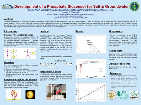 Abstract Results Current Time PO4 Addition Points Development of a Phosphate Biosensor for Soil & Groundwater Serkan Akar*, Vekalet Tek*, Adam Bange#,