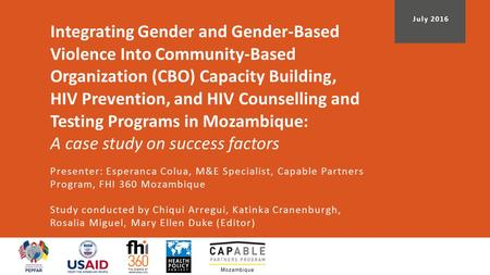 Integrating Gender and Gender-Based Violence Into Community-Based Organization (CBO) Capacity Building, HIV Prevention, and HIV Counselling and Testing.