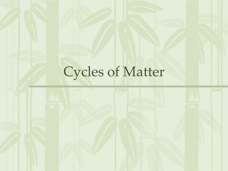 Cycles of Matter. More Than Just Energy All living organisms need energy to survive, but they also need….. 1.Water 2.Minerals 3.And other life sustaining.