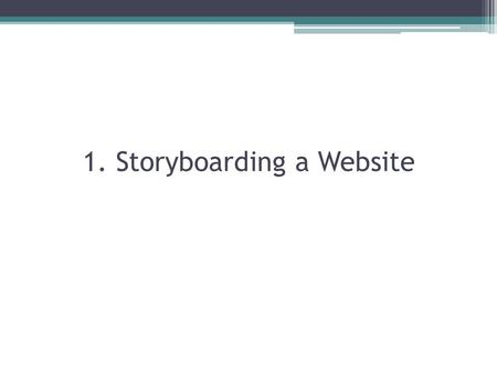 1. Storyboarding a Website. How to start a storyboard: Have Blank Squares!