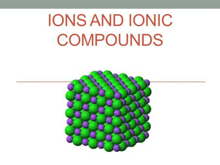 IONS AND IONIC COMPOUNDS. IONIC BONDING AND SALTS Key Terms: Salt Lattice Energy Crystal LatticeUnit Cell.