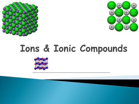 ion: a charged atom that has gained or lost an electron  atoms that lose electrons become ___ ions (called cations)  atoms that gain electrons become.