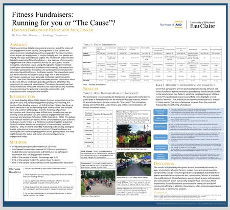 We thank the Office of Research and Sponsored Programs for supporting this research, and Learning & Technology Services for printing this poster. Fitness.
