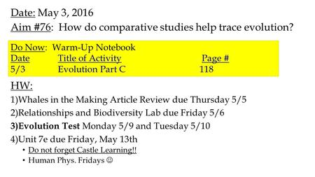 Date: May 3, 2016 Aim #76: How do comparative studies help trace evolution? HW: 1)Whales in the Making Article Review due Thursday 5/5 2)Relationships.