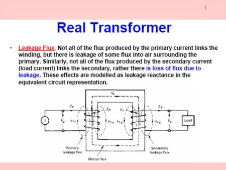 1. 2 Magnetization Current in a Real transformer Although the output of the transformer is open circuit, there will still be current flow in the primary.
