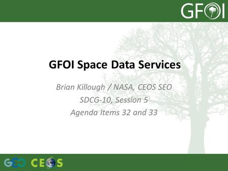 Brian Killough / NASA, CEOS SEO SDCG-10, Session 5 Agenda Items 32 and 33 GFOI Space Data Services.