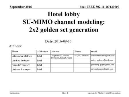 Doc.: IEEE 802.11-16/1209r0 Submission Hotel lobby SU-MIMO channel modeling: 2x2 golden set generation Date: 2016-09-13 September 2016 Alexander Maltsev,