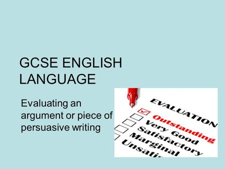 Meaning of evaluate in english essay