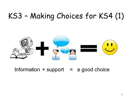 1 KS3 – Making Choices for KS4 (1) Information + support = a good choice.