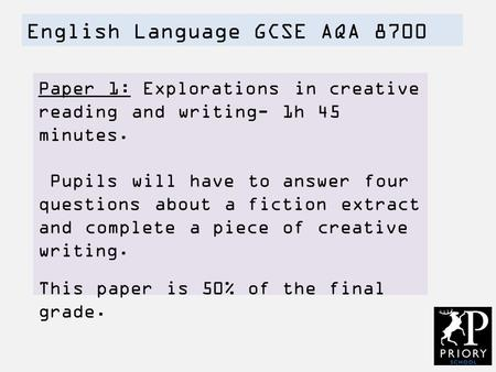 English Language GCSE AQA 8700 Paper 1: Explorations in creative reading and writing- 1h 45 minutes. Pupils will have to answer four questions about a.