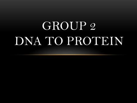GROUP 2 DNA TO PROTEIN. 9.1 RICIN AND YOUR RIBOSOMES.