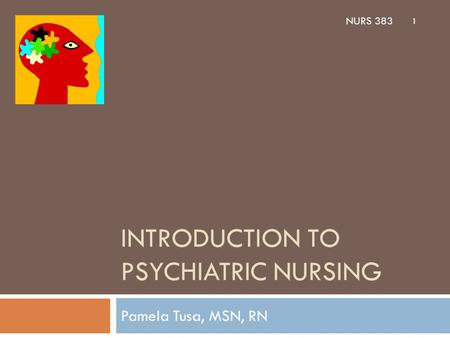 INTRODUCTION TO PSYCHIATRIC NURSING Pamela Tusa, MSN, RN 1 NURS 383.