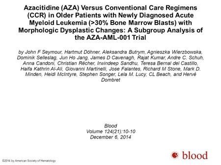 Azacitidine (AZA) Versus Conventional Care Regimens (CCR) in Older Patients with Newly Diagnosed Acute Myeloid Leukemia (>30% Bone Marrow Blasts) with.