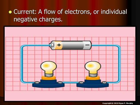 Current: A flow of electrons, or individual negative charges. Current: A flow of electrons, or individual negative charges. Copyright © 2010 Ryan P. Murphy.