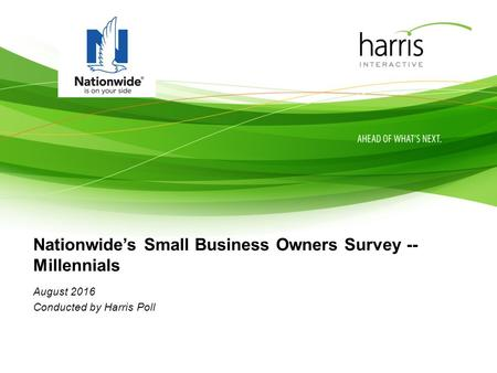Nationwide's Small Business Owners Survey -- Millennials August 2016 Conducted by Harris Poll.