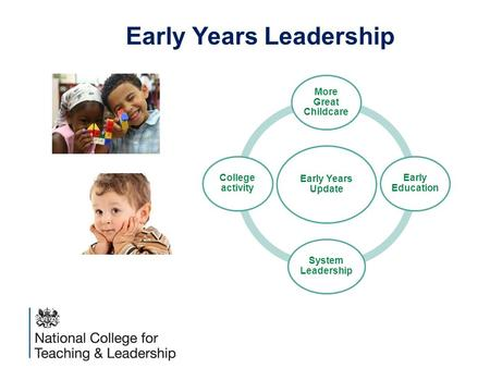 An executive agency of the Department for Education Early Years Update More Great Childcare Early Education System Leadership College activity Early Years.