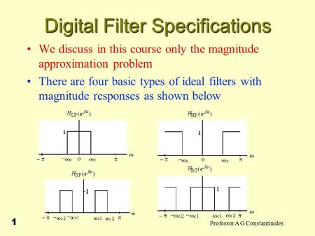 Professor A G Constantinides 1 Digital Filter Specifications We discuss in this course only the magnitude approximation problem There are four basic types.