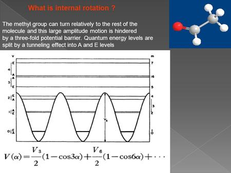 What is internal rotation ? The methyl group can turn relatively to the rest of the molecule and this large amplitude motion is hindered by a three-fold.