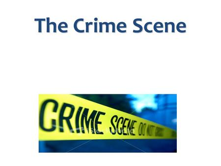 The Crime Scene. Police On The Scene, You Know What I Mean? When a 911 emergency phone call is made: - the dispatcher sends cops to the crime scene. -