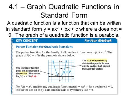 4.1 – Graph Quadratic Functions in Standard Form A quadratic function is a function that can be written in standard form y = ax 2 + bx + c where a does.