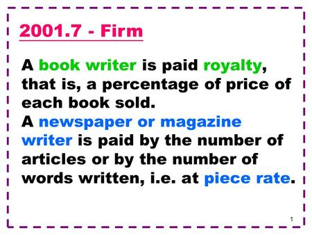 1 A book writer is paid royalty, that is, a percentage of price of each book sold. A newspaper or magazine writer is paid by the number of articles or.