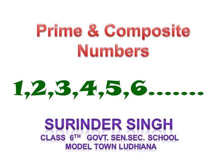 1,2,3,4,5,6…..... Fun and Games What am I Learning Today? Prime and Composite Numbers.