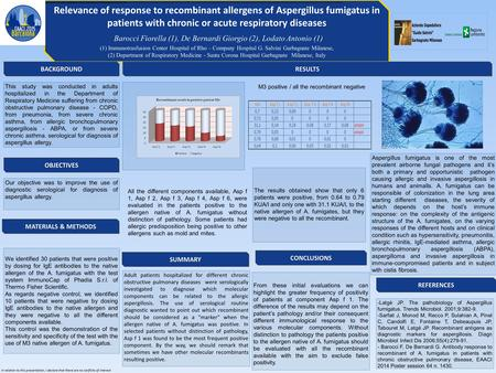 Relevance of response to recombinant allergens of Aspergillus fumigatus in patients with chronic or acute respiratory diseases Barocci Fiorella (1), De.