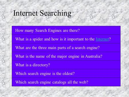 Internet Searching How many Search Engines are there? What is a spider and how is it important to the Internet? What are the three main parts of a search.