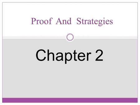 Proof And Strategies Chapter 2. Lecturer: Amani Mahajoub Omer Department of Computer Science and Software Engineering Discrete Structures Definition Discrete.