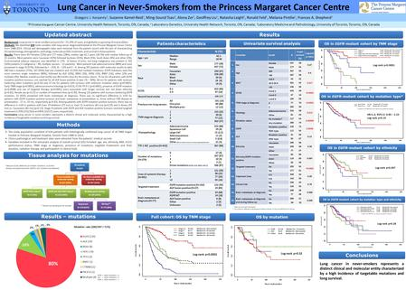 Lung Cancer in Never-Smokers from the Princess Margaret Cancer Centre 1 Princess Margaret Cancer Centre, University Health Network, Toronto, ON, Canada;