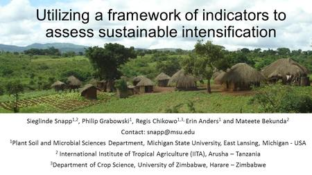 Utilizing a framework of indicators to assess sustainable intensification Sieglinde Snapp 1,2, Philip Grabowski 1, Regis Chikowo 1,3, Erin Anders 1 and.