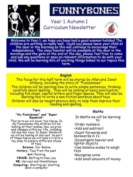 Year 1 Autumn 1 Curriculum Newsletter Welcome to Year 1, we hope you have had a good summer holiday! The children are settling in really well. Could you.