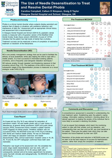 The Use of Needle Desensitisation to Treat and Resolve Dental Phobia Caroline Campbell, Callum D Simpson, Greig D Taylor Glasgow Dental Hospital and School,