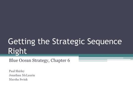 Getting the Strategic Sequence Right Blue Ocean Strategy, Chapter 6 Paul Shirley Jonathan McLaurin Marsha Swink.