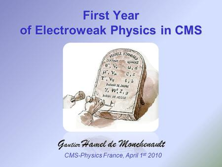 First Year of Electroweak Physics in CMS CMS-Physics France, April 1 st 2010.