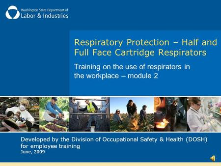 Respiratory Protection – Half and Full Face Cartridge Respirators Training on the use of respirators in the workplace – module 2 Developed by the Division.