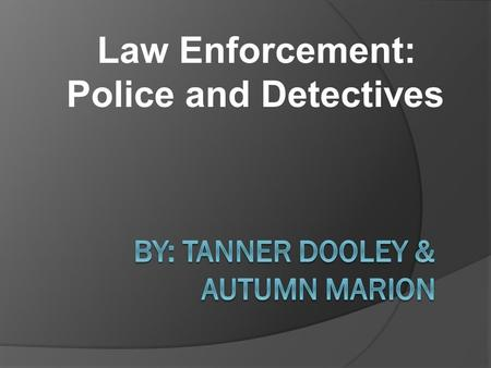Law Enforcement: Police and Detectives. Overview  Important Facts  Education Facts and Requirements  Skills (Required to be Successful and Why.)