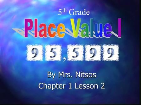 By Mrs. Nitsos Chapter 1 Lesson 2 5 th Grade,. California Standard Addressed 1.1 Estimate, round, & manipulate very large…numbers. Number Sense Sense.