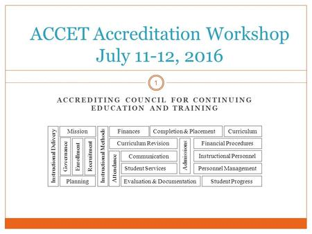 ACCREDITING COUNCIL FOR CONTINUING EDUCATION AND TRAINING 1 ACCET Accreditation Workshop July 11-12, <strong>2016</strong> Planning Personnel Management Communication Governance.