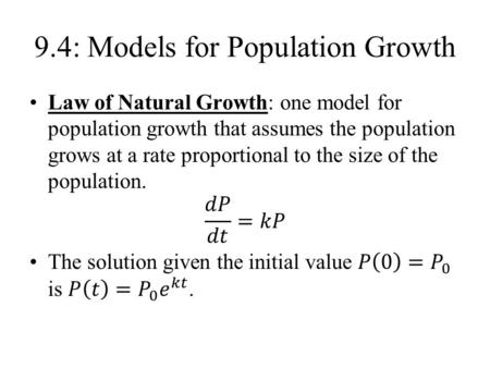 9.4: Models for Population Growth. Logistic Model.