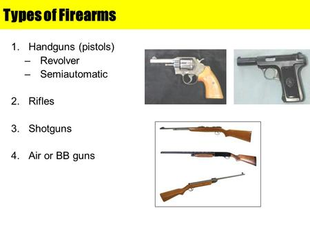 Types of Firearms 1.Handguns (pistols) –Revolver –Semiautomatic 2.Rifles 3.Shotguns 4.Air or BB guns.