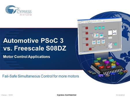11/18/2012 Owner : SHIV Cypress Confidential Automotive PSoC 3 vs. Freescale S08DZ Motor Control Applications Fail-Safe Simultaneous Control for more motors.