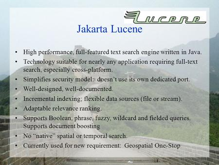High performance, full-featured text search engine written in Java. Technology suitable for nearly any application requiring full-text search, especially.