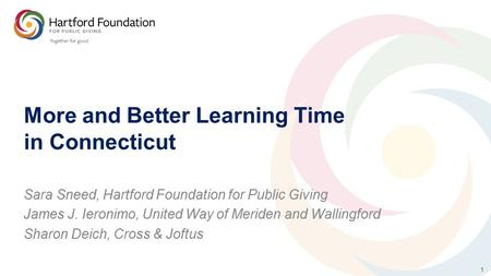 1 More and Better Learning Time in Connecticut Sara Sneed, Hartford Foundation for Public Giving James J. Ieronimo, United Way of Meriden and Wallingford.