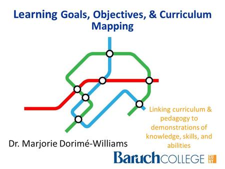 Learning Goals, Objectives, & Curriculum Mapping Linking curriculum & pedagogy to demonstrations of knowledge, skills, and abilities Dr. Marjorie Dorimé-Williams.