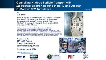 1 Ernst/IAEA EX/2-3/Oct. 2014 Controlling H-Mode Particle Transport with Modulated Electron Heating in DIII-D and Alcator C-Mod via TEM Turbulence by D.R.