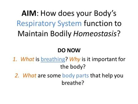 AIM: How does your Body's Respiratory System function to Maintain Bodily Homeostasis? DO NOW 1.What is breathing? Why is it important for the body? 2.What.