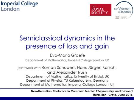 Semiclassical dynamics in the presence of loss and gain Eva-Maria Graefe Department of Mathematics, Imperial College London, UK Non-Hermitian Photonics.