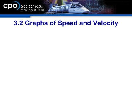 3.2 Graphs of Speed and Velocity. Chapter Objectives  Calculate time, distance, or speed when given two of the three values.  Solve an equation for.